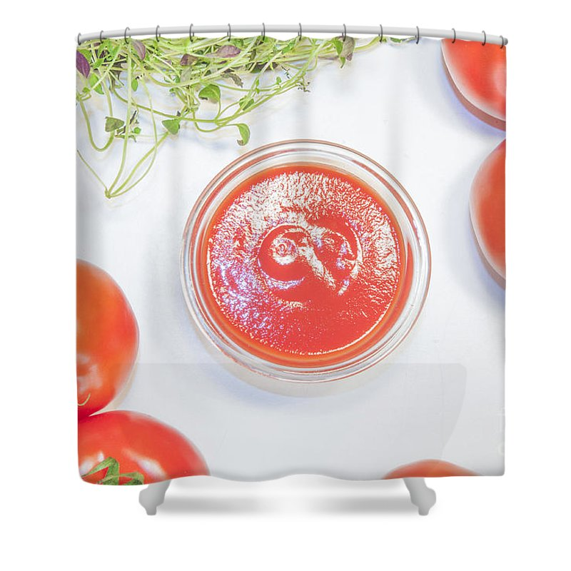 Sauce Shower Curtain featuring the photograph Tomato Sauce Bowl by D R