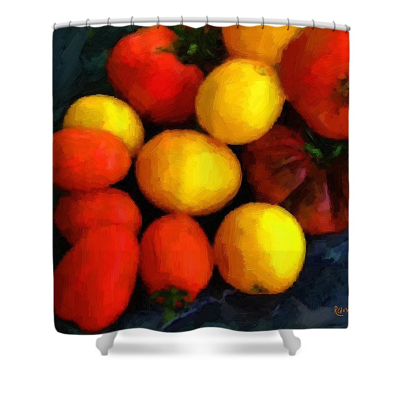 Tomatoes Shower Curtain featuring the painting Tomatoes Matisse by RC DeWinter