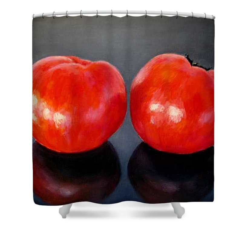 Tomatoes Shower Curtain featuring the painting Tomatoes Original Oil Painting by Natalja Picugina