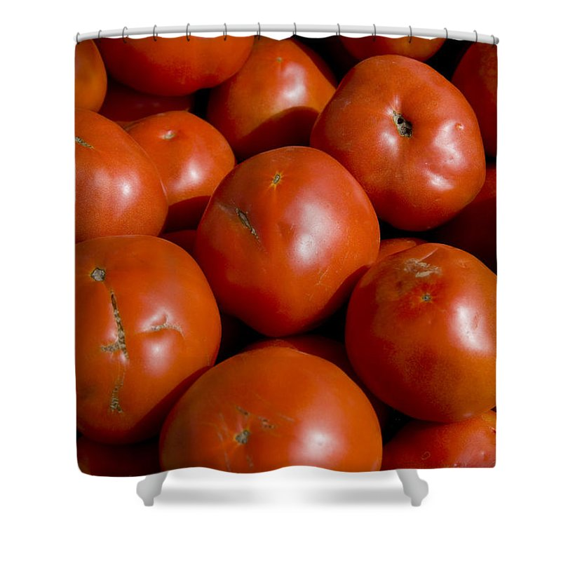 Harpers Ferry Shower Curtain featuring the photograph Tomatoes Sit In The Sun Awaiting Buyers by Stephen St. John