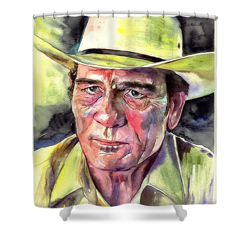 Tommy Shower Curtain featuring the painting Tommy Lee Jones Portrait Watercolor by Suzann Sines