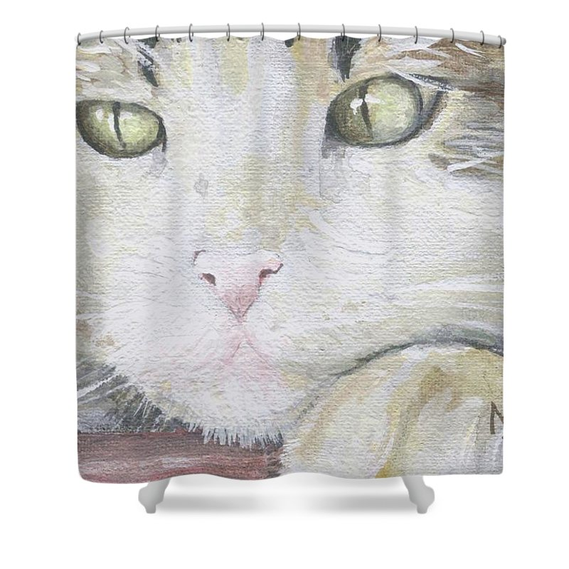 Charity Shower Curtain featuring the painting Tommy by Mary-Lee Sanders