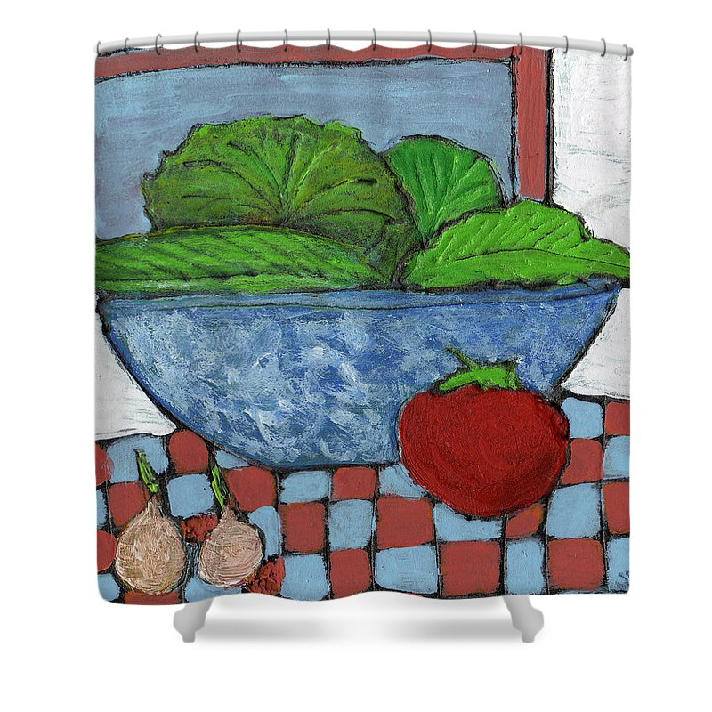Food Shower Curtain featuring the painting Tonight's Salad by Wayne Potrafka