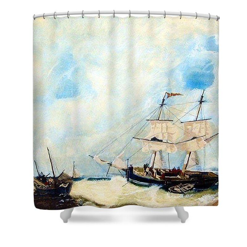 Sailing Shower Curtain featuring the painting Too Close To Shore by Richard Le Page