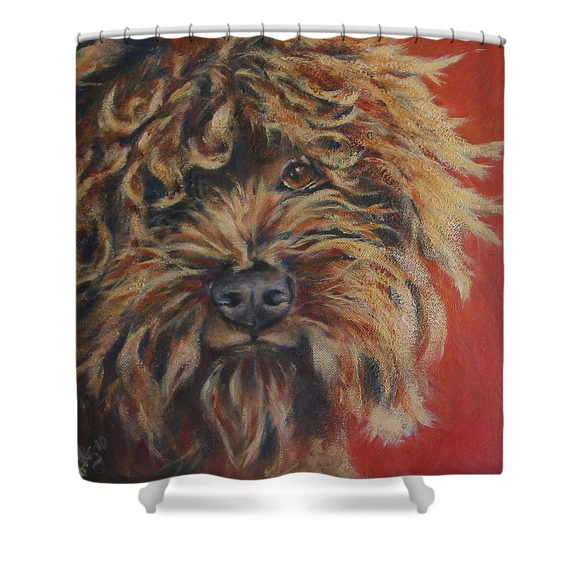 Dog Shower Curtain featuring the painting Toots by Julie Dalton Gourgues