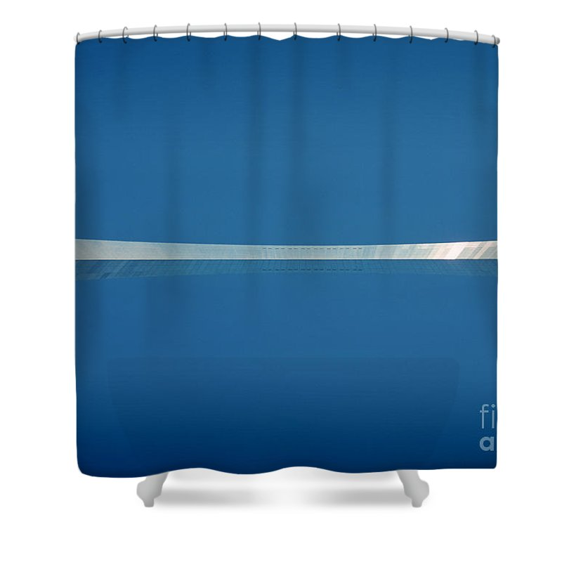Blue Shower Curtain featuring the photograph Top Of The Arch by Peter Simmons