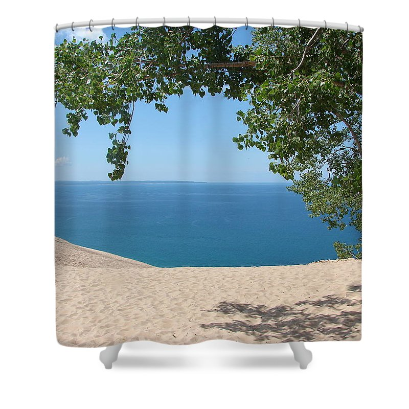 Sleeping Bear Dunes Shower Curtain featuring the photograph Top Of The Dune At Sleeping Bear by Michelle Calkins