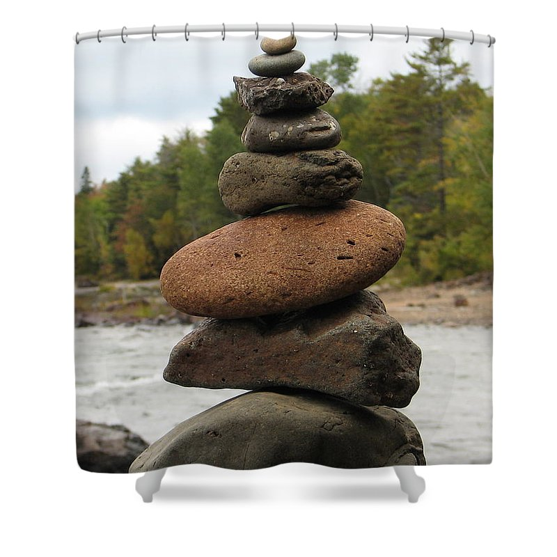 Rocks Shower Curtain featuring the photograph Top Of The Stack by Kelly Mezzapelle