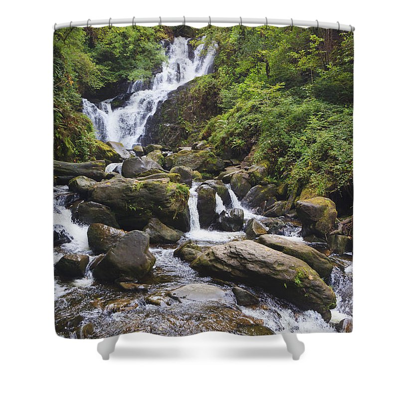 Resource Shower Curtain featuring the photograph Torc Waterfall In Killarney National by Ken Welsh