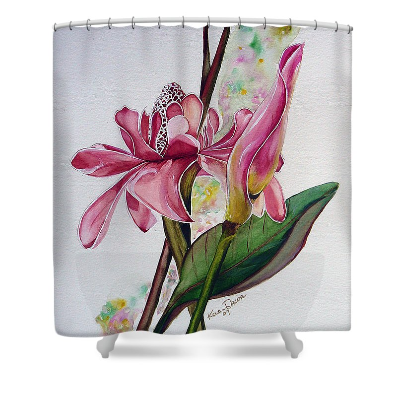 Flower Painting Floral Painting Botanical Painting Flowering Ginger. Shower Curtain featuring the painting Torch Ginger Lily by Karin Dawn Kelshall- Best