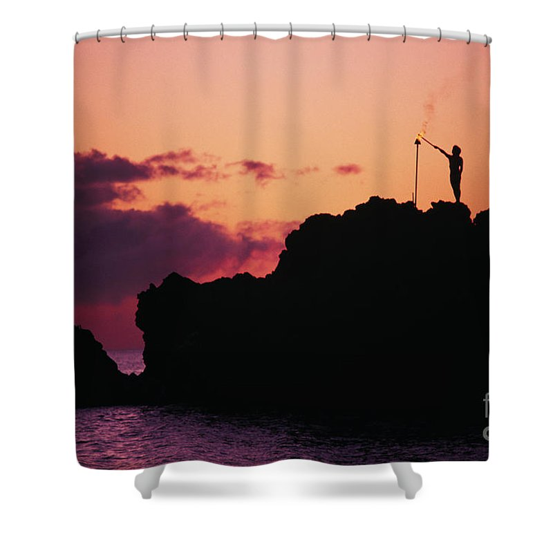 Black Shower Curtain featuring the photograph Torch Lighting by Ron Dahlquist - Printscapes