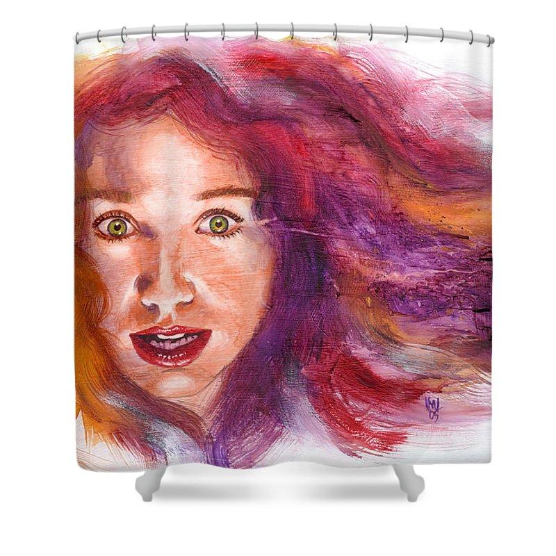 Musicians Shower Curtain featuring the painting Tori Rainbow by Ken Meyer jr