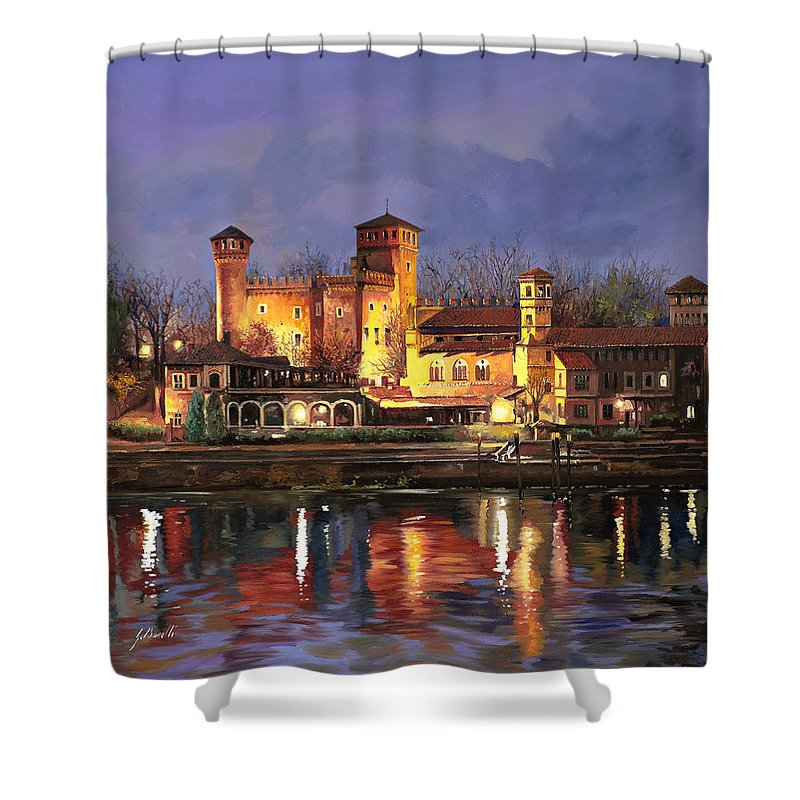 Castle Shower Curtain featuring the painting Torino-il Borgo Medioevale Di Notte by Guido Borelli