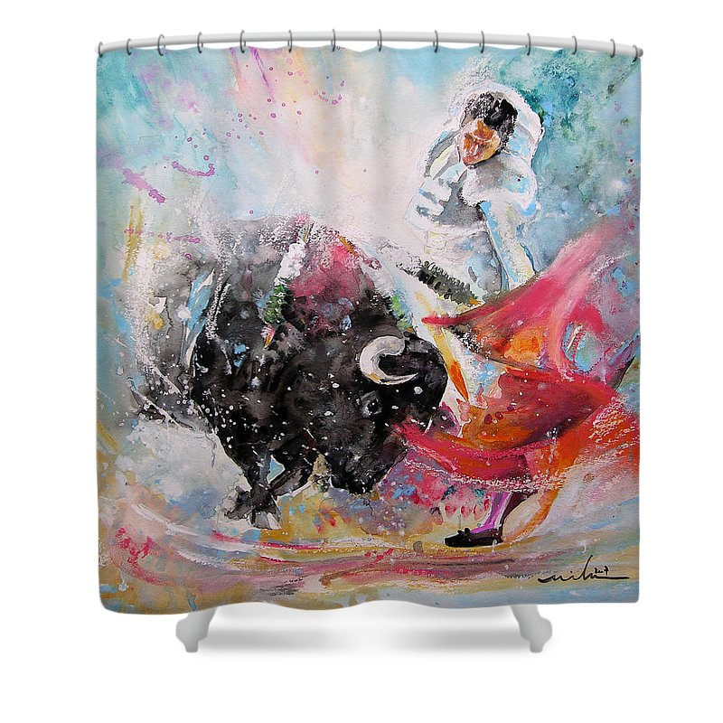 Animals Shower Curtain featuring the painting Toro Tempest by Miki De Goodaboom