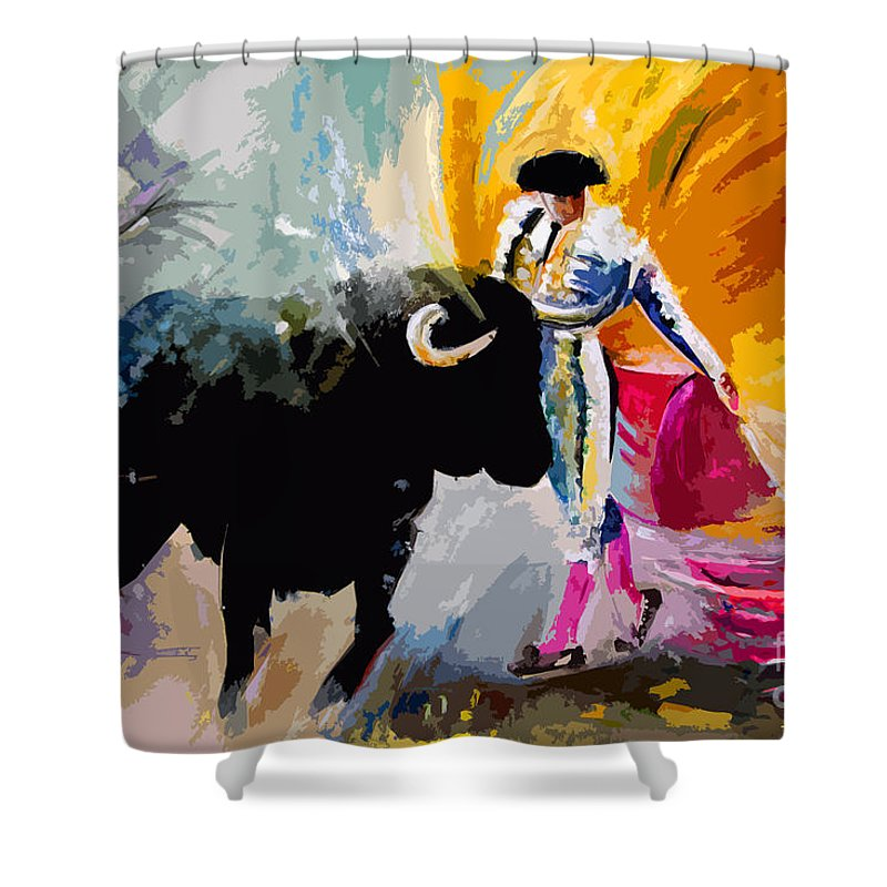 Toros Shower Curtain featuring the mixed media Toroscape 03 by Miki De Goodaboom
