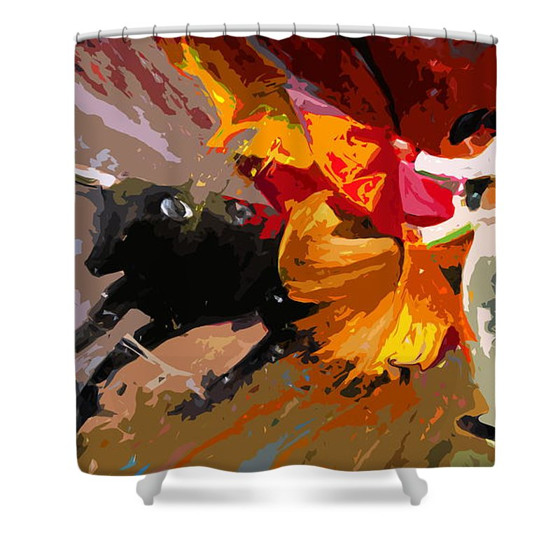 Animals Shower Curtain featuring the painting Toroscape 04 by Miki De Goodaboom