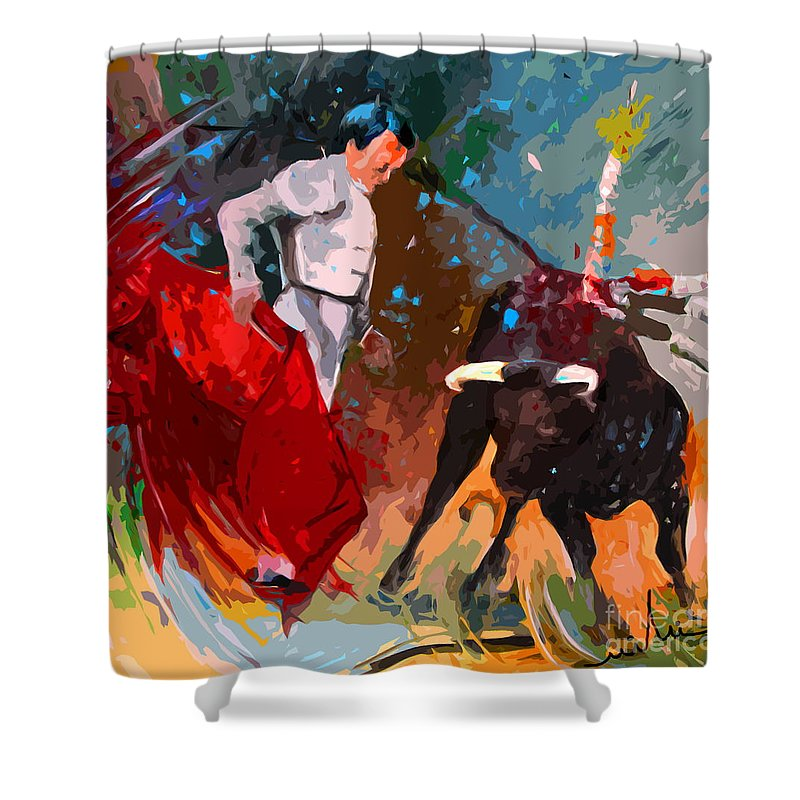 Bullfight Shower Curtain featuring the painting Toroscape 05 by Miki De Goodaboom