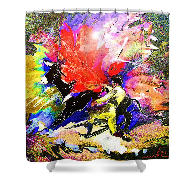Animals Shower Curtain featuring the painting Toroscape 06 by Miki De Goodaboom