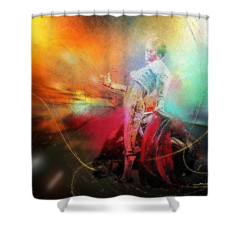 Animals Shower Curtain featuring the painting Toroscape 25 by Miki De Goodaboom