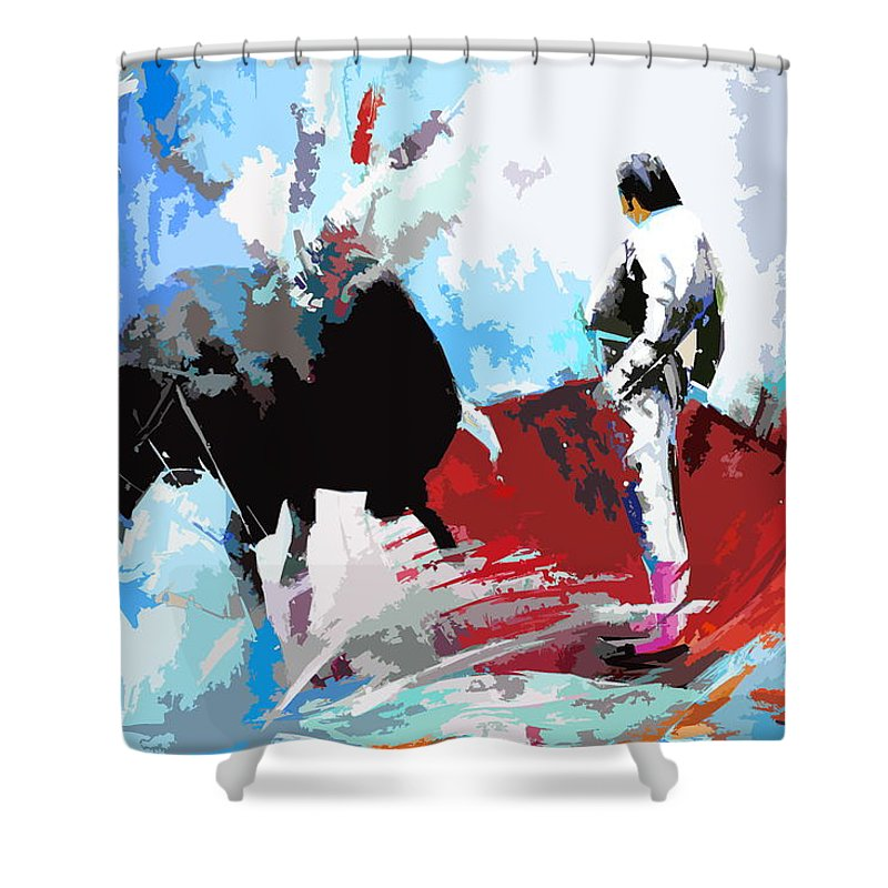 Animals Shower Curtain featuring the painting Toroscape 35 by Miki De Goodaboom