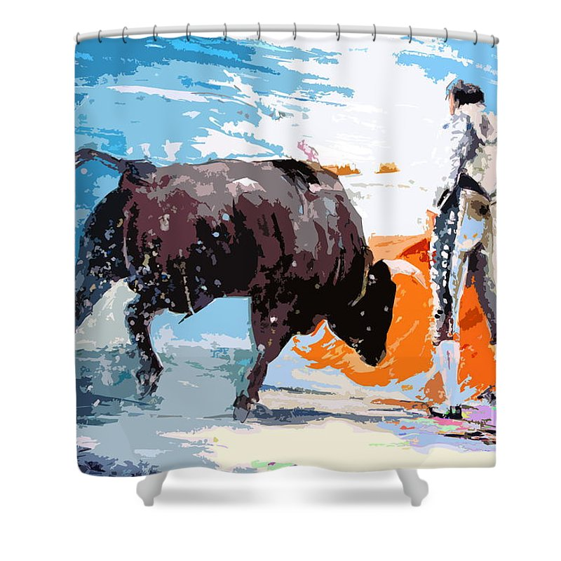 Bullfight Shower Curtain featuring the painting Toroscape 37 by Miki De Goodaboom