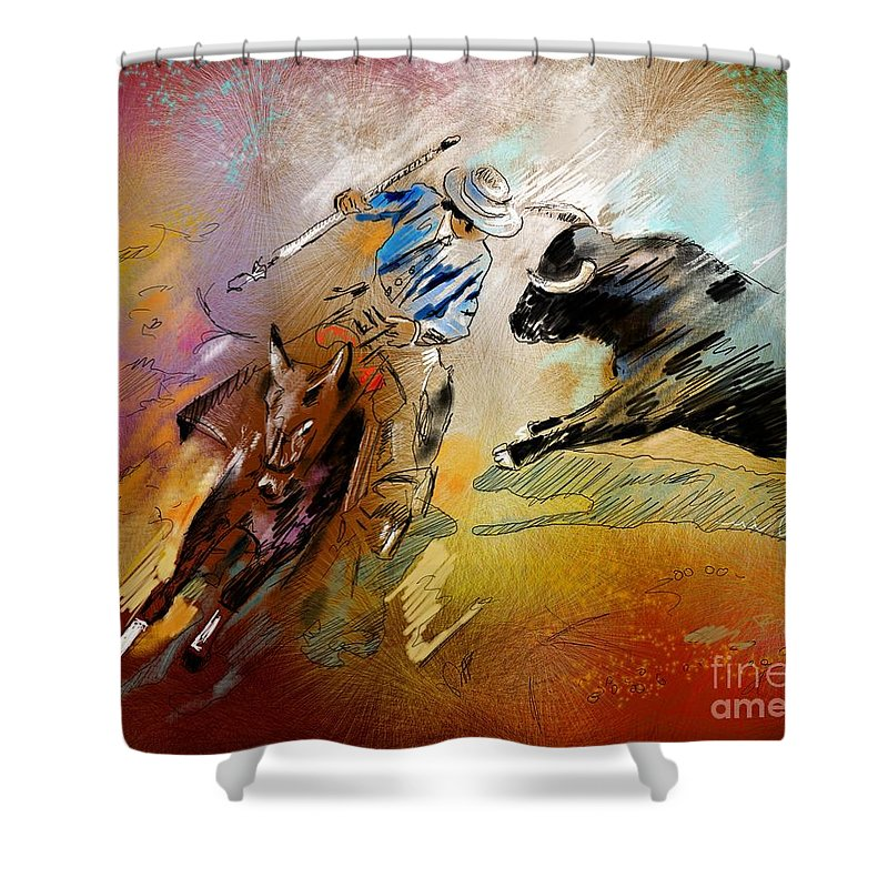 Bullfight Shower Curtain featuring the painting Toroscape 42 by Miki De Goodaboom