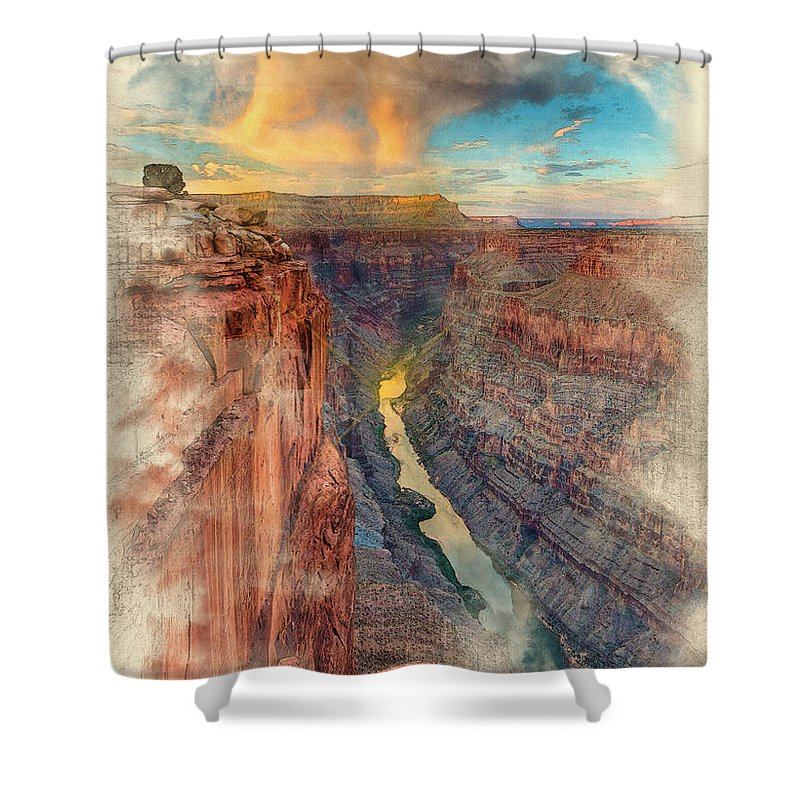 Decoration Shower Curtain featuring the digital art Toroweap by Don Kuing