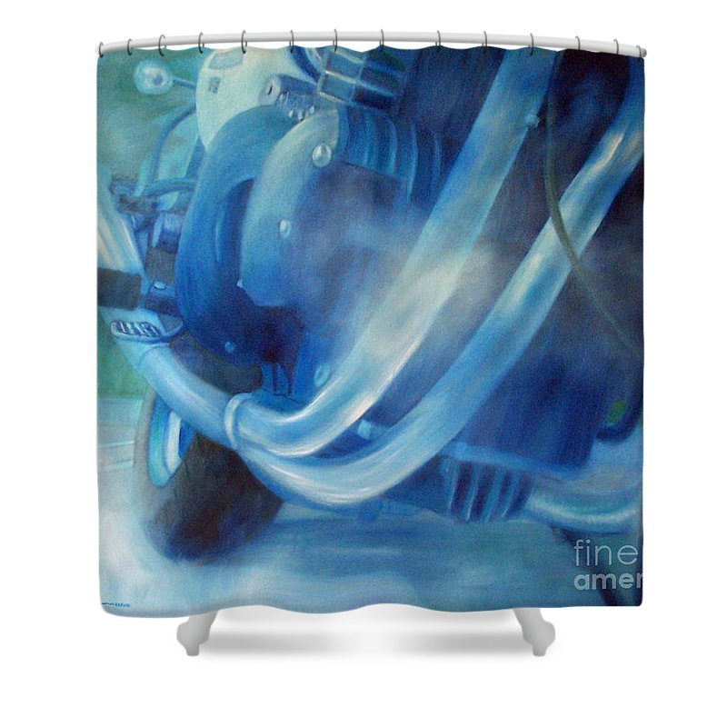Motorcycles Shower Curtain featuring the painting Torque Triple - Triumph Thunderbird Sport by Brian Commerford