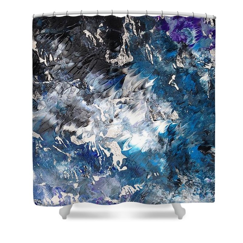 Print Shower Curtain featuring the painting Torrent by Charity Janisse
