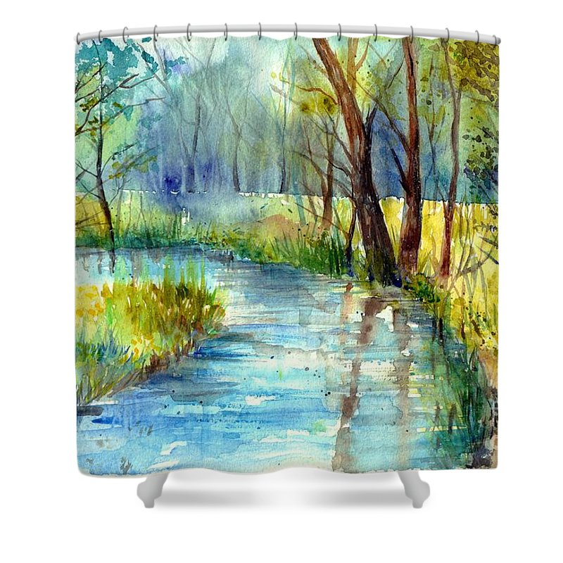 Village Shower Curtain featuring the painting Torrent's Whisper by Suzann Sines