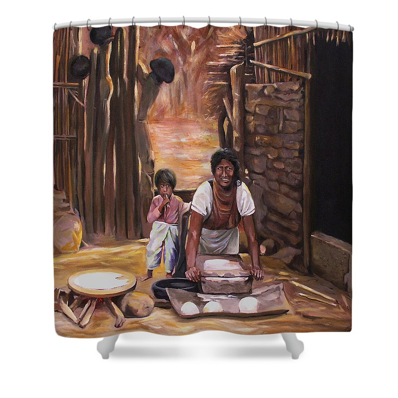 Mexican Shower Curtain featuring the painting Tortillas De Madre by Nancy Griswold