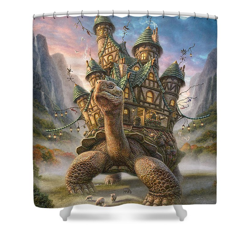 Tortoise Shower Curtain featuring the mixed media Tortoise House by Phil Jaeger