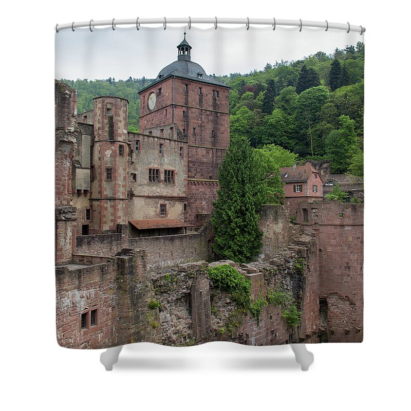 Heidelberg Shower Curtain featuring the photograph Torturm And Seltenleer Heidelberger Schloss by Teresa Mucha