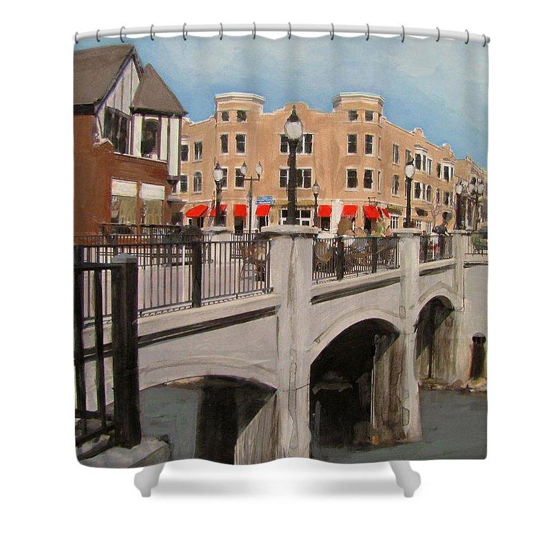 Milwaukee Shower Curtain featuring the mixed media Tosa Village Bridge by Anita Burgermeister
