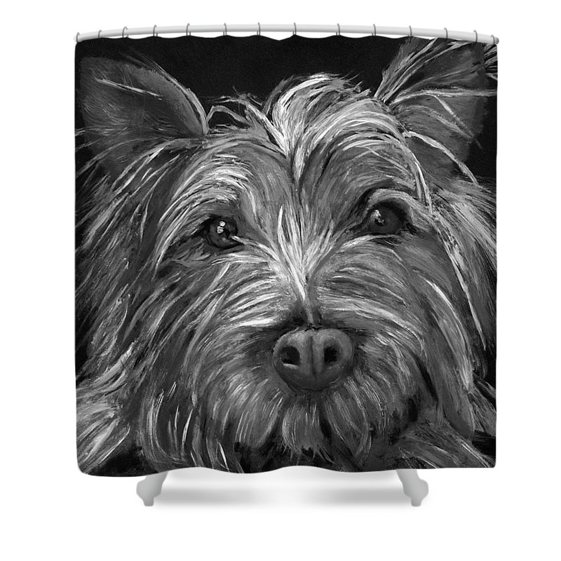 Dogs Shower Curtain featuring the painting Tosha The Highland Terrier by Portraits By NC