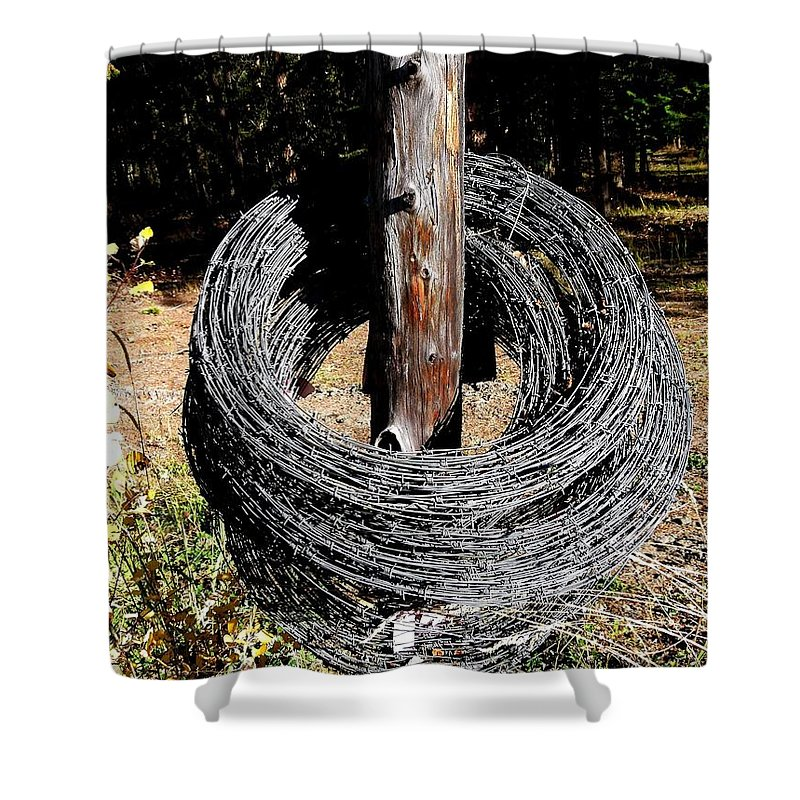 Barbed Wire Shower Curtain featuring the photograph Totally Wired by Will Borden