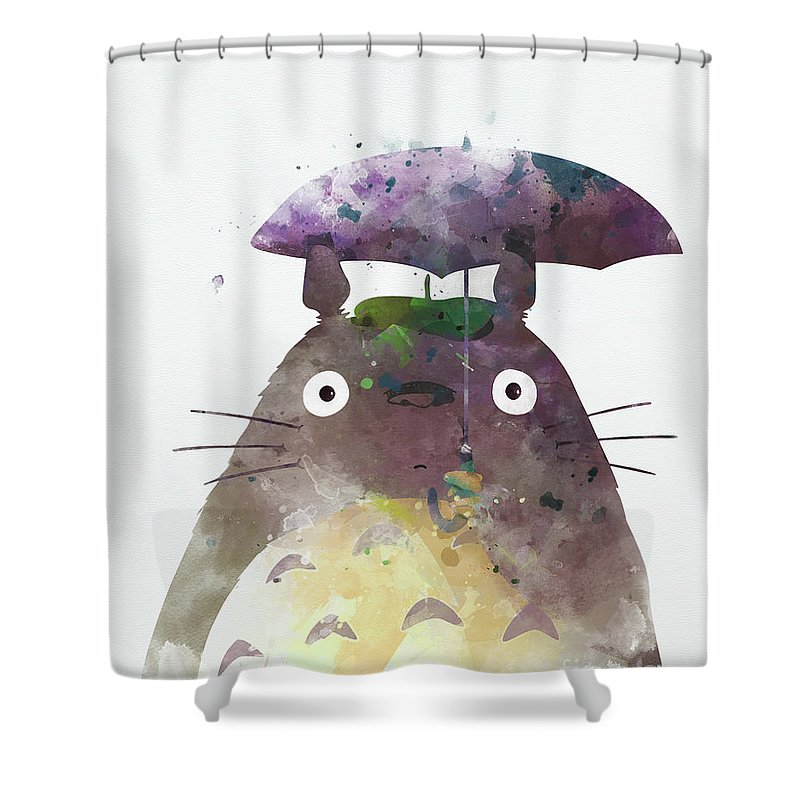 c0269ce645e12 Totoro Shower Curtain featuring the mixed media Totoro My Neighbour by Monn  Print