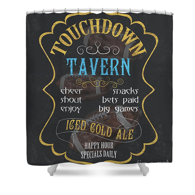 Beer Shower Curtain featuring the painting Touchdown Tavern by Debbie DeWitt