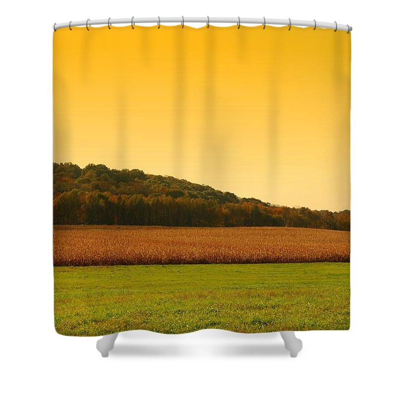 Autumn Landscapes Shower Curtain featuring the photograph Touched By Golden Light - Battlefield Orchards by Angie Tirado