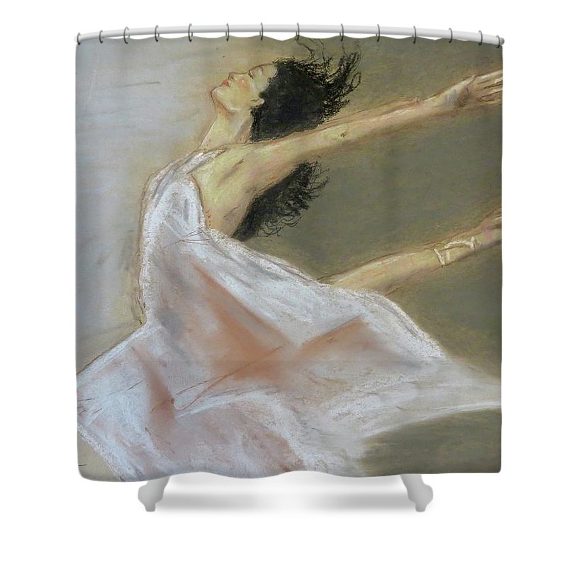 Woman Shower Curtain featuring the pastel Toujour by C Pichura