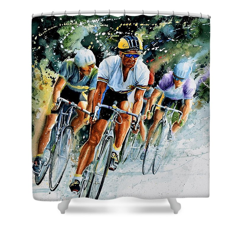 Tour De France Shower Curtain featuring the painting Tour De Force by Hanne Lore Koehler
