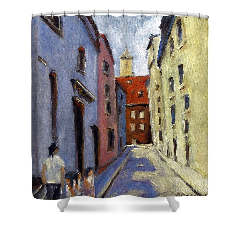 Urban Shower Curtain featuring the painting Tour Of The Old Town by Richard T Pranke