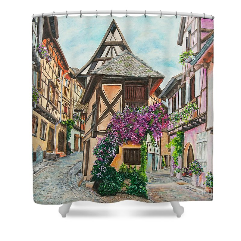 France Shower Curtain featuring the painting Touring In Eguisheim by Charlotte Blanchard