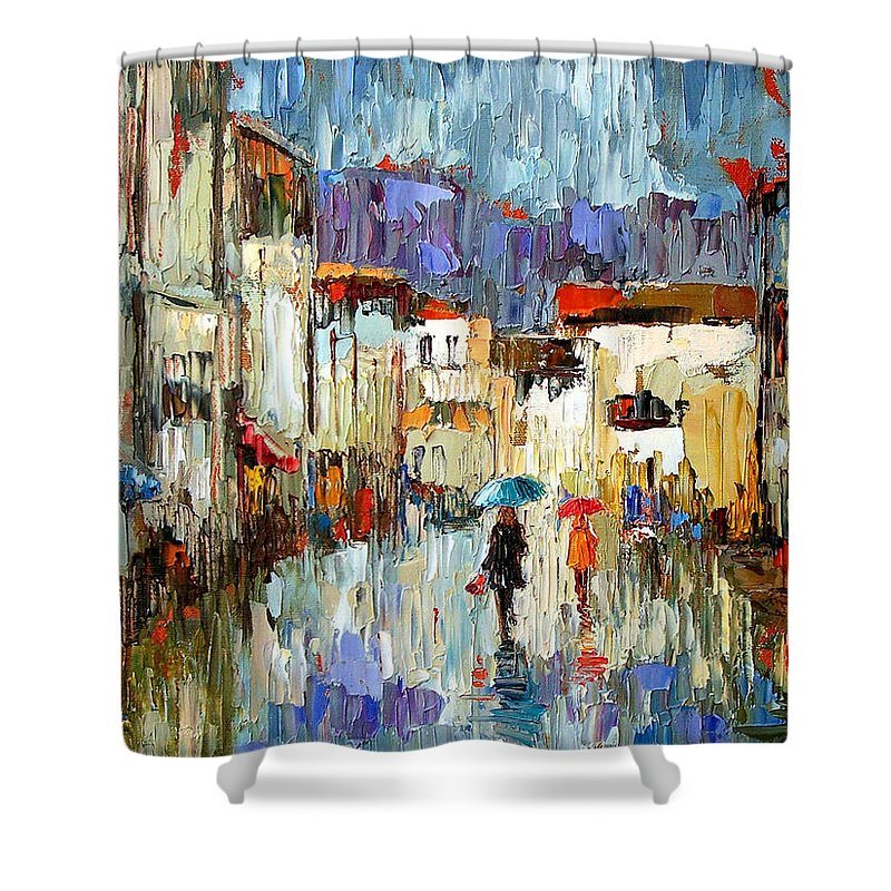 Landscape Shower Curtain featuring the painting Tourists by Debra Hurd