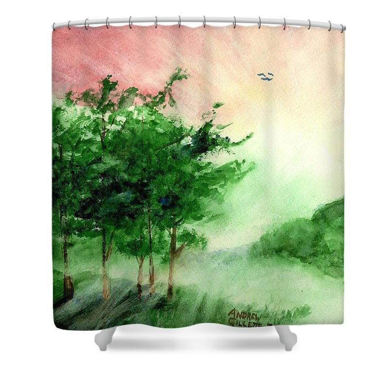 Landscape Shower Curtain featuring the painting Toward the Promised Land by Andrew Gillette