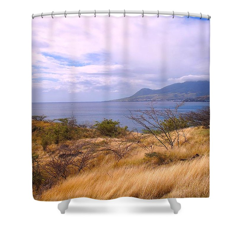 St Kitts Shower Curtain featuring the photograph Towards Basseterre by Ian MacDonald