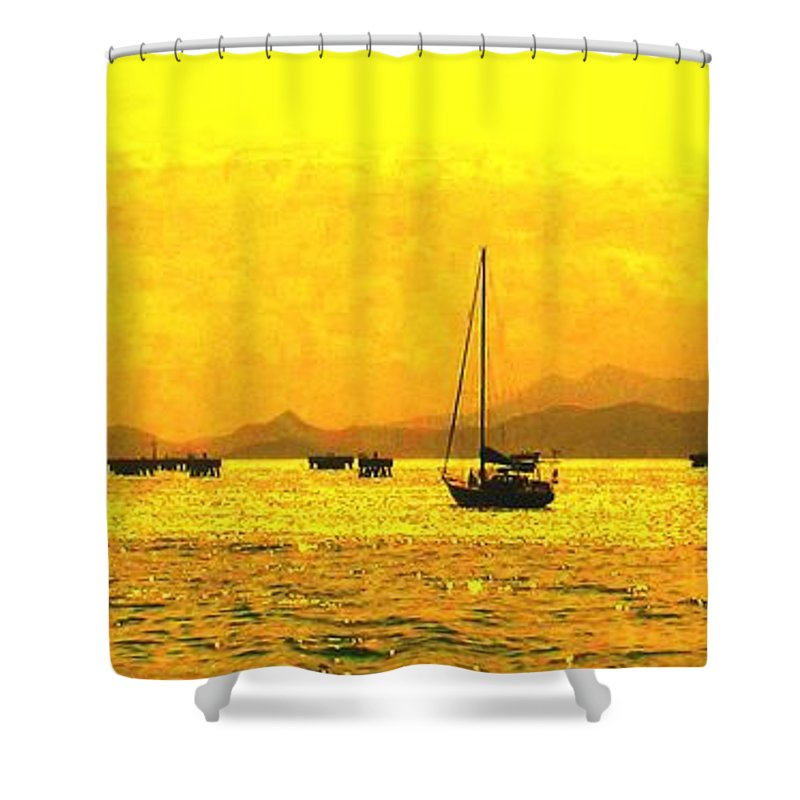 Basseterre Shower Curtain featuring the photograph Towards Nevis by Ian MacDonald