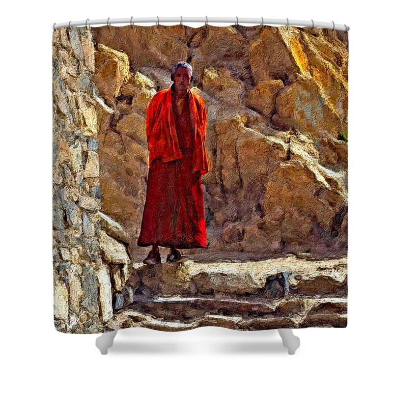 Tibetan Shower Curtain featuring the photograph Towards Nirvana Impasto by Steve Harrington
