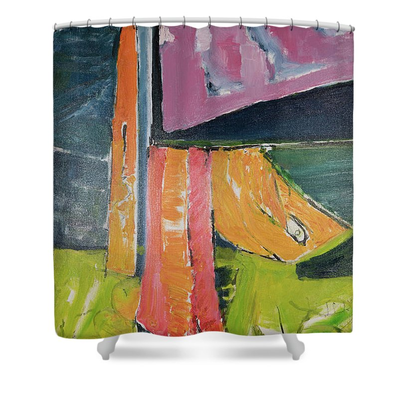Towels Shower Curtain featuring the painting Towels As Flags by Craig Newland