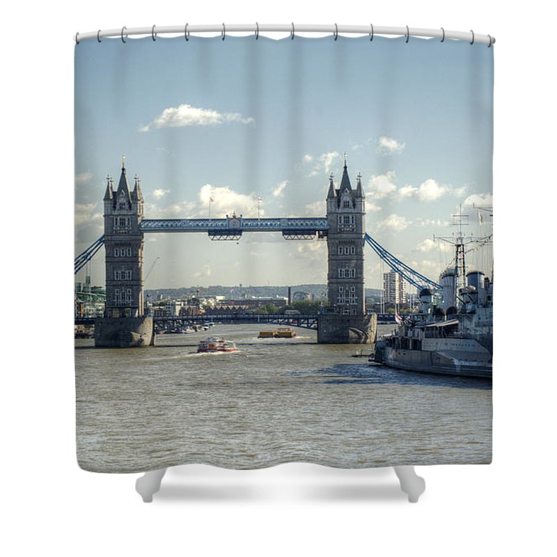 Hms Belfast Shower Curtain featuring the photograph Tower Bridge And Hms Belfast 3 by Chris Day